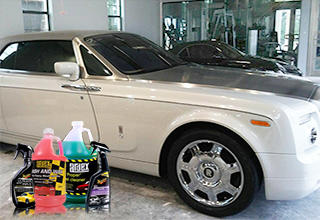Car with car wash products