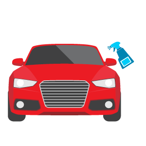 Full car detail icon, a red car with a sprayer on the right side