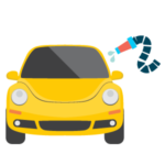 Regular wash icon, yellow beetle with a house spraying water on the side